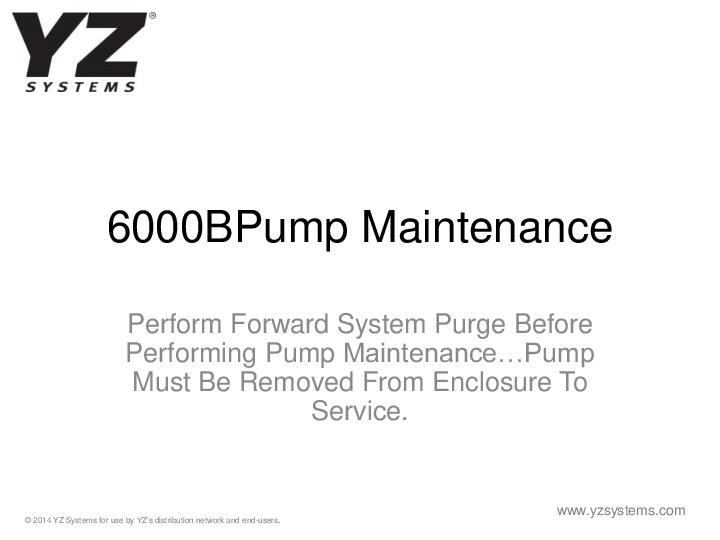 YZ-Systems-6000BPump-Maintenance